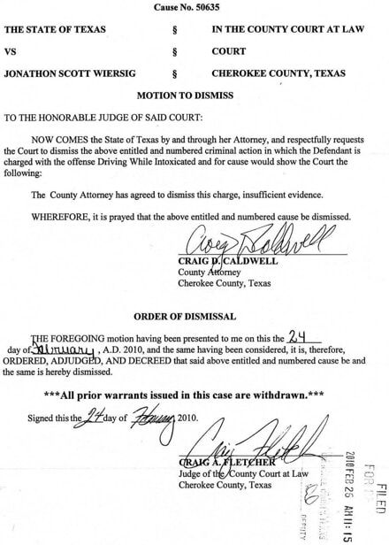 Case File - Motion to Dismiss / Order of Dismissal