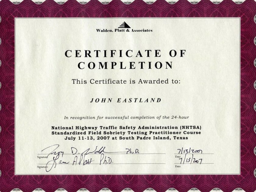 National Highway Traffic Safety Administration Certificate of Completion