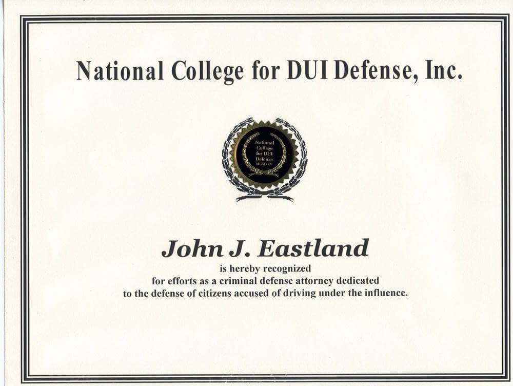 National College for DUI Defense, Inc. Recognition Certificate