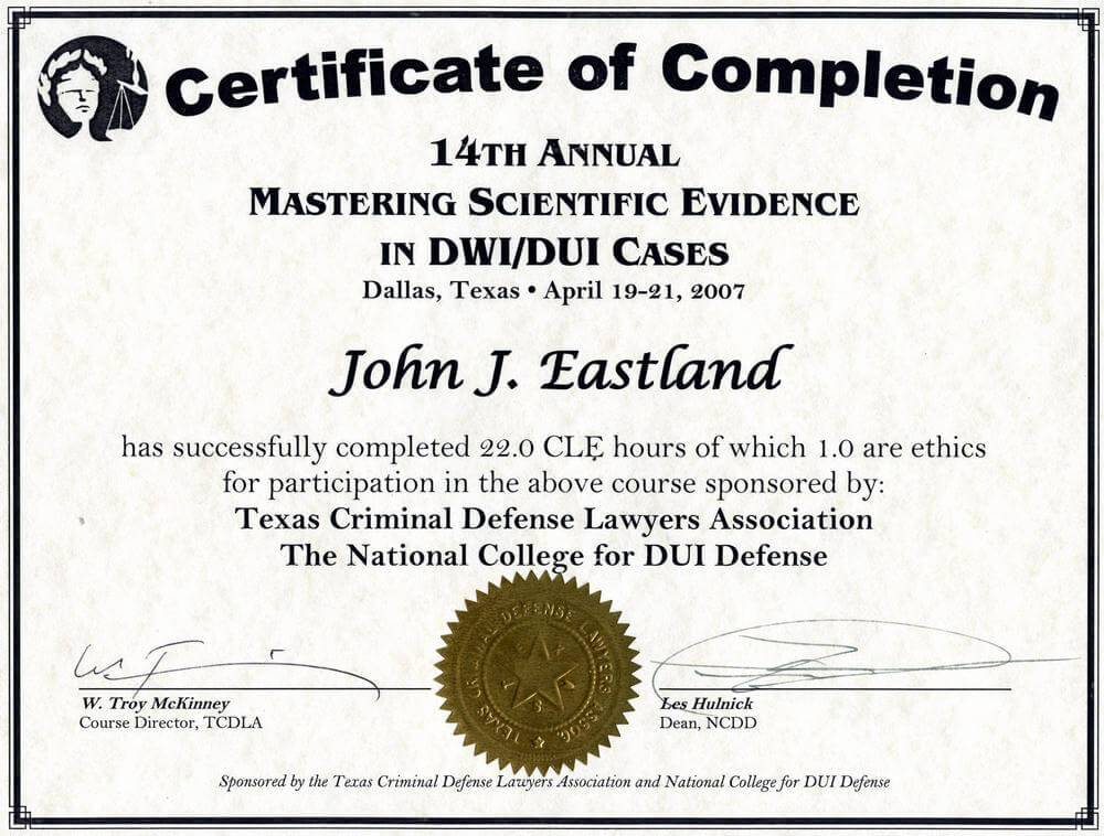 Mastering Scientific Evidence in DWI/DUI Cases Certificate of Completion